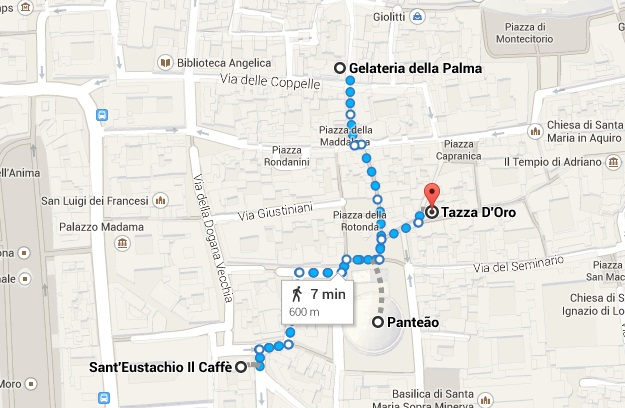 mapa cafe e gelato