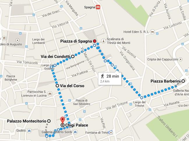 mapa Piazza di Spagna - Roma