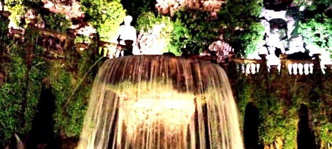 Bate e volta de Roma, Villa d'Este à noite.