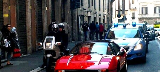 Chegando a Roma de carro