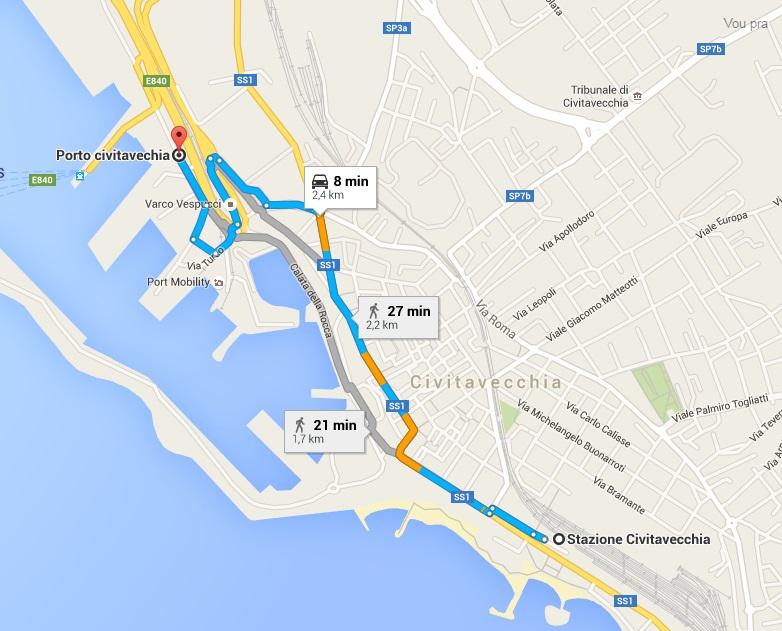 mapa porto civitavecchia