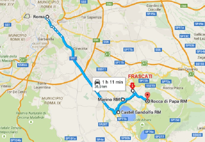 MAPA - ROMA - CASTEL GANDOLFO - FRASCATI